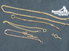 4 WATCH CHAINS AND 1 WATCH KEY IN MOVEMENT BOX