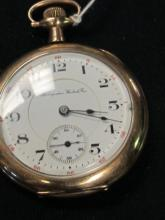 HAMPDEN 12S 17J WATCH WORKING GOLD FILLED ETCHED