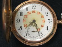 14k SWISS 24 HOUR DIAL .585 MARKED NOT WORK 1909
