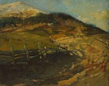 """Karl Stachelscheid, """"Voralpine Landschaftsstudie mit Feldweg"""""""