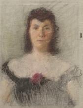 """Karl Stachelscheid, """"Damenportrait im schwarzen Kleid"""""""