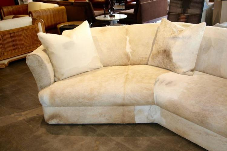 Wonderful Cowhide Covered Large Curved Sofa from the Pond Estate of Palm  Springs