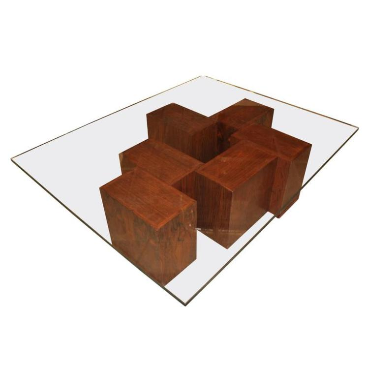 Stunning rosewood cube coffee table with glass top for Glass cube coffee table
