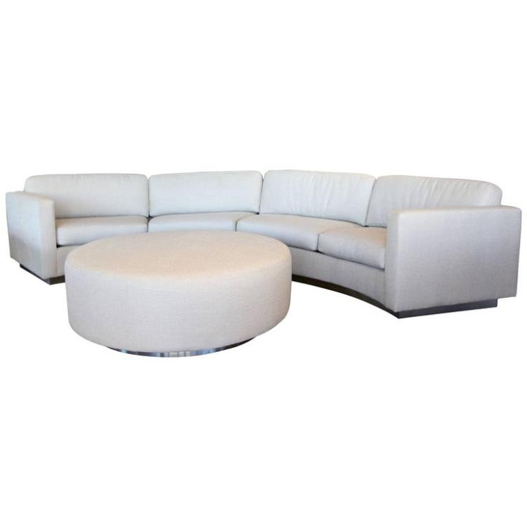 Thayer Coggin Milo Baughman Curved Sofa And Ottoman With Brushed Steel  Plinth