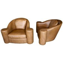 Oversized Swivel Club Chairs Designed by Steve Chase in Leather from 1994