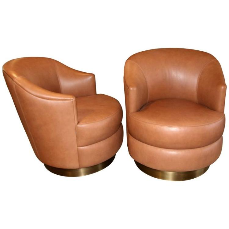 A. Rudin Leather Swivel Chairs with Brass Base Ordered by Steve Chase  sc 1 st  Invaluable & A. Rudin Leather Swivel Chairs with Brass Base Ordered by St