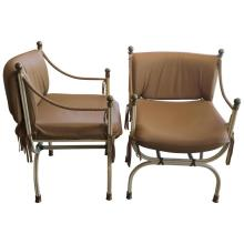 Leather Wrapped Iron and Bronze Campaign Chairs