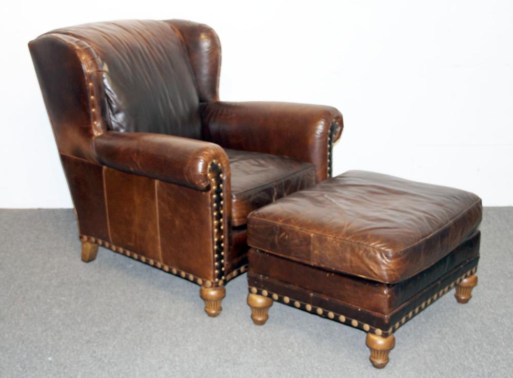 Terrific Wesley Hall Leather Lounge Chair And Ottoman Inzonedesignstudio Interior Chair Design Inzonedesignstudiocom