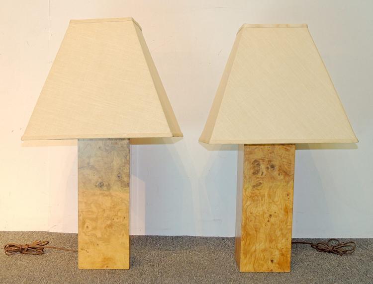 Pair of Decorator Burl Wood Table Lamps