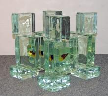 Modernist Stacked Glass Cube Table Base