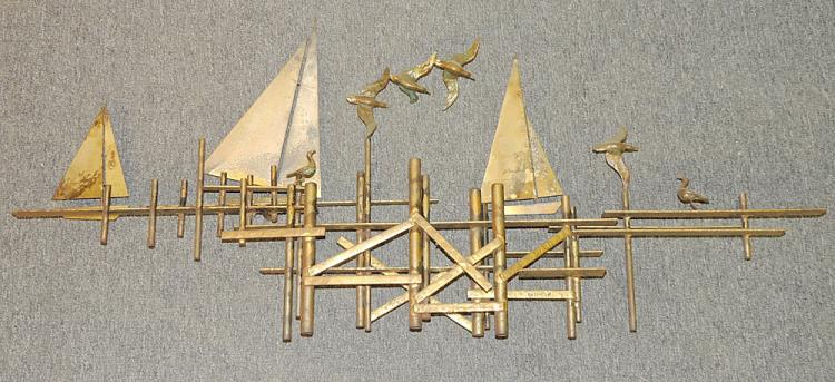 C Jere Dock Scene Wall Sculpture