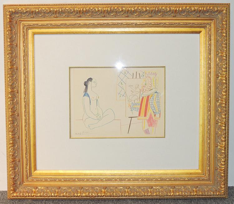 After Pablo Picasso Lithograph: Artist with Nude