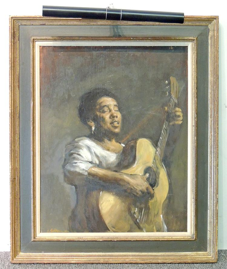Oil on Board, Portrait of a Guitarist