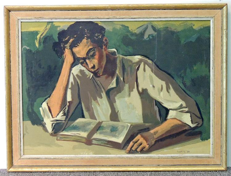 Sarkis Sarkisian Oil on Board, Man with Book