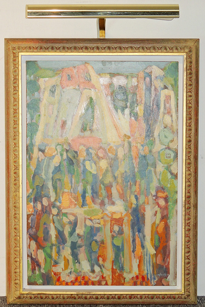 Harry Sefarbi Oil on Board, Abstract with Figures