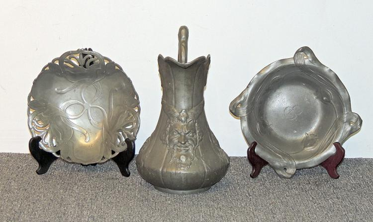 Three Pieces of Art Nouveau Pewter