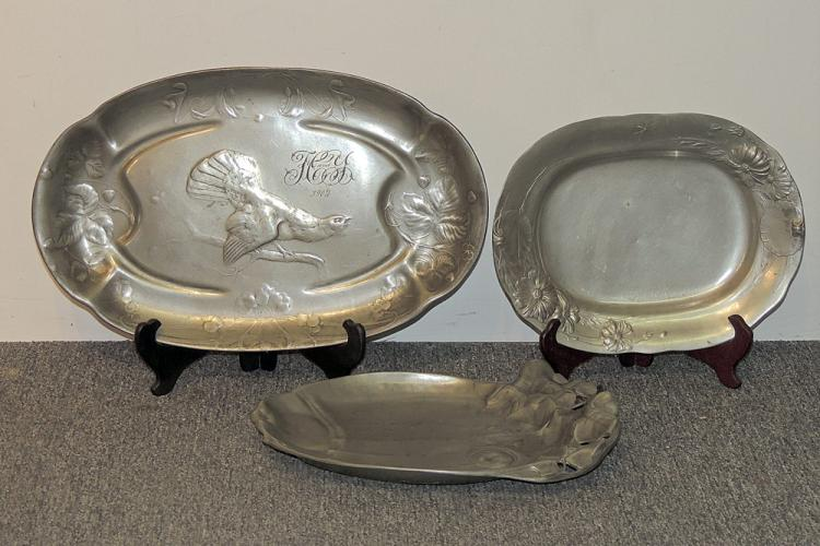Three Kayserzinn Pewter Platters