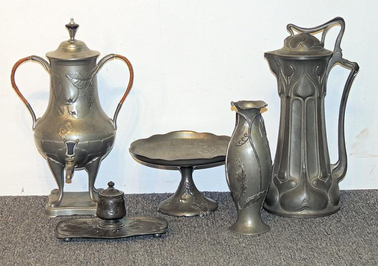 Five-pc. Art Nouveau Pewter Grouping