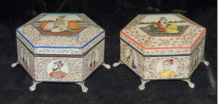 Two Islamic Hexagonal Covered Boxes