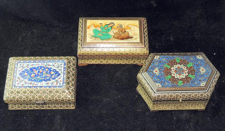 Three Persian Khatam Covered Boxes