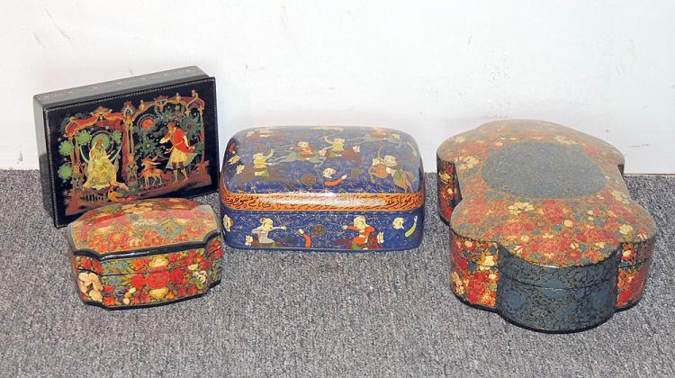 Four Russian and Persian Lacquered Boxes