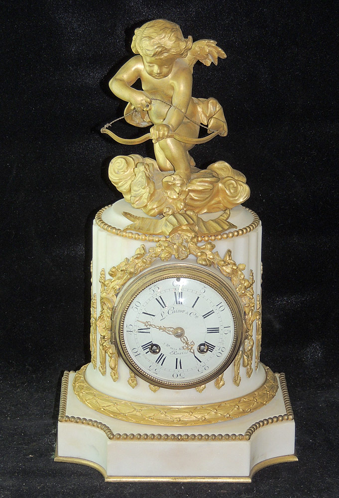 French Gilt Bronze and White Marble Mantel Clock