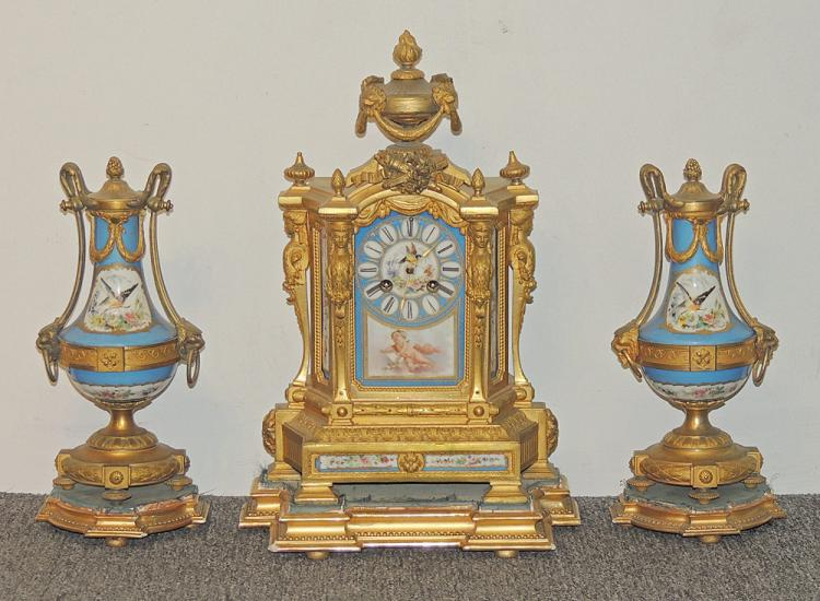 Louis XVI-style Porcelain Clock Garniture Set