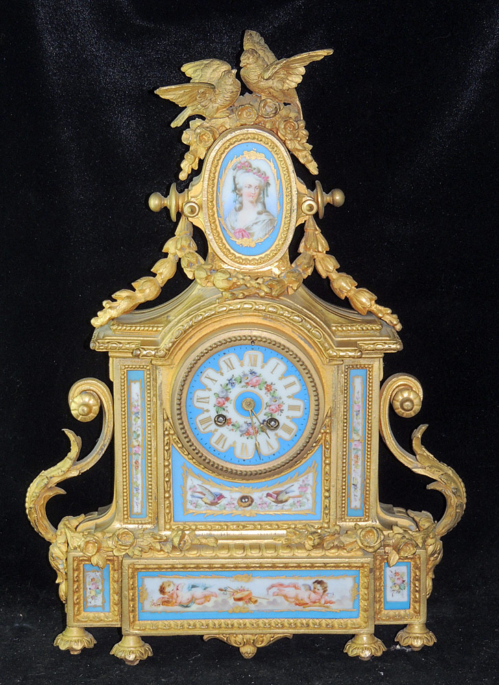 Louis XVI-style Porcelain Mantel Clock