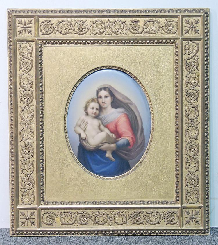 19th C. KPM Porcelain Plaque: Madonna and Child