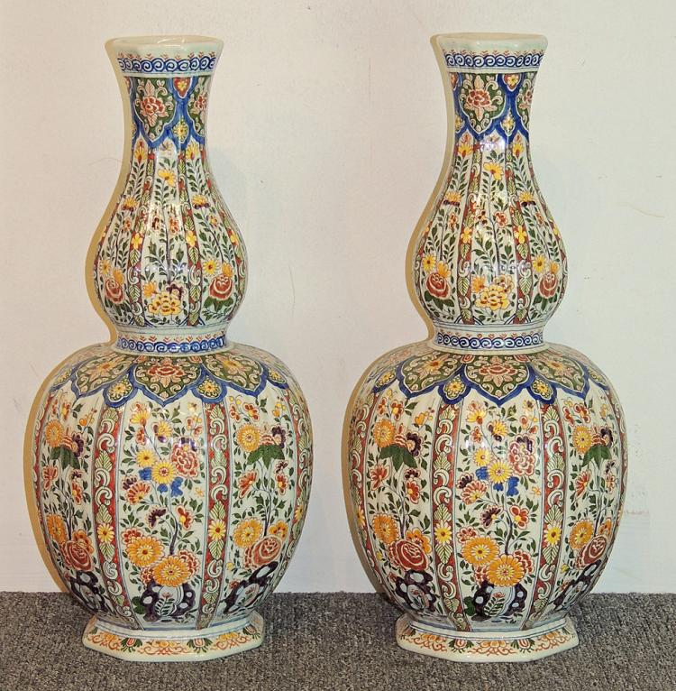 Pair of Delft Pottery Floral Vases