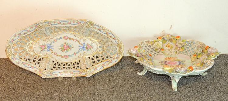 Porcelain Floral-decorated Bowl and Platter