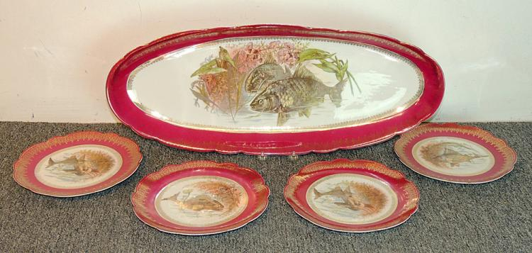 Four-piece Austrian Porcelain Fish Set