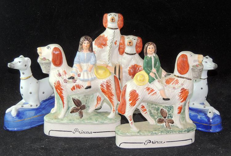 Five Staffordshire Porcelain Figures