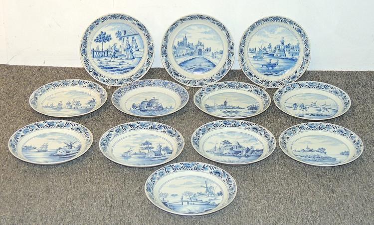 Twelve Delft Pottery Plates