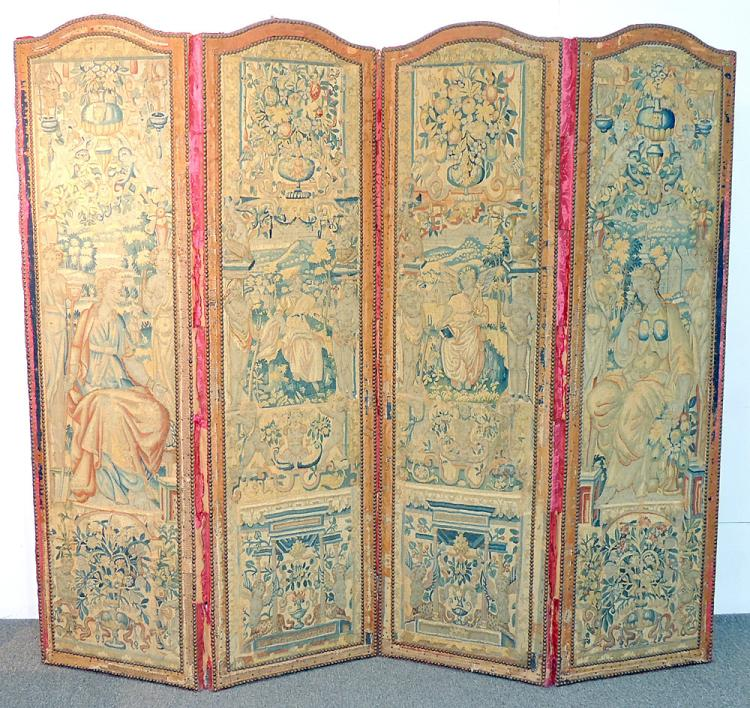 Four-panel Flemish Tapestry Room Divider