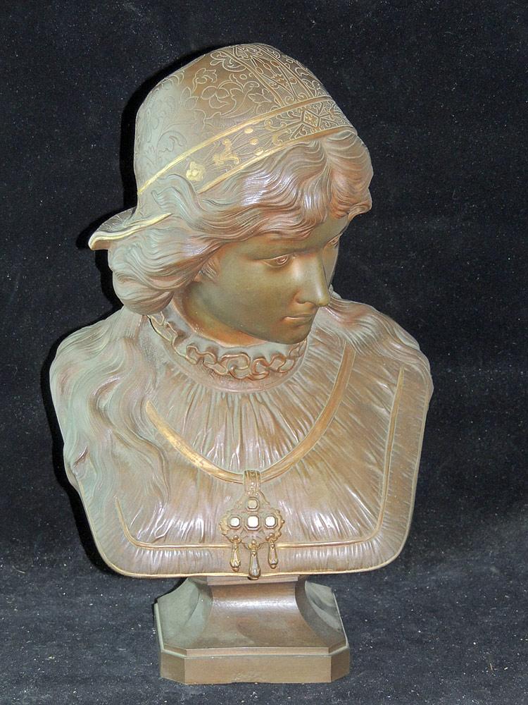 Cesar Constantino Ceribelli Bronze Bust of Woman
