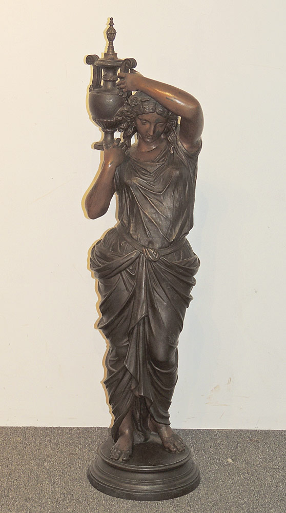 Large Cast Sculpture of Woman with Urn