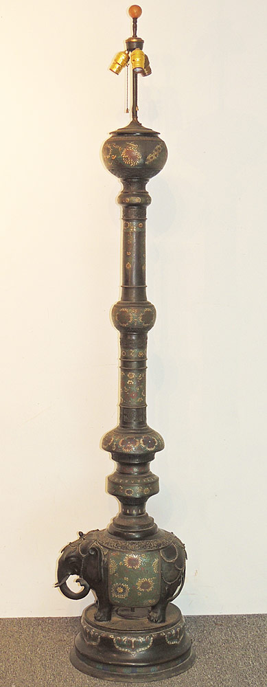Japanese Champlevé Floor Lamp