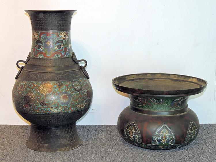 Two Japanese Champlevé Urns