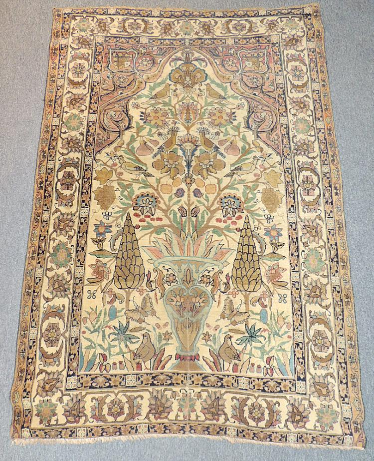 Persian Isfahan Carpet with Urn, Tress, Birds