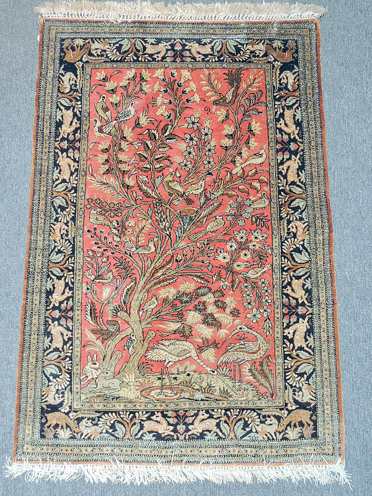 Persian Silk Carpet with Birds and Animals