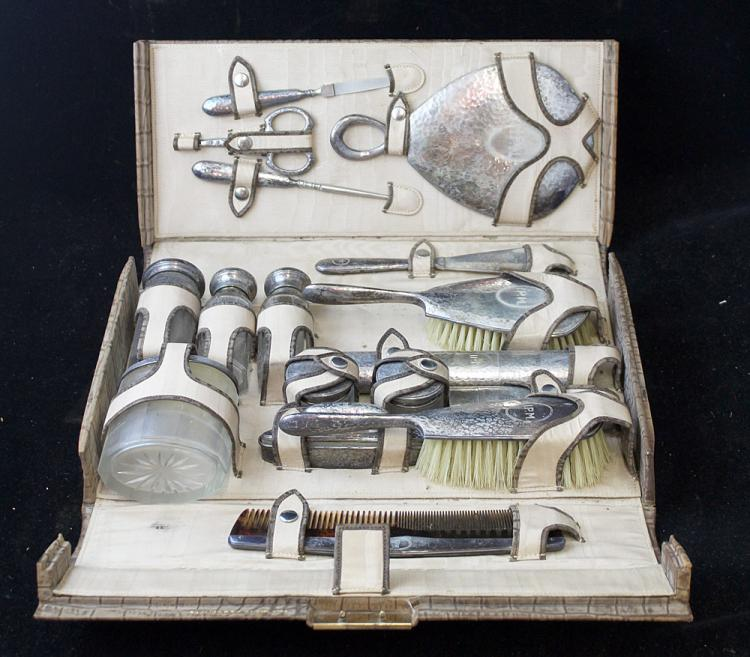 Sterling-Mounted Travel Set