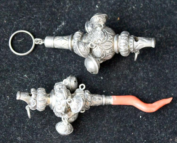 Two Silver Rattle Whistles