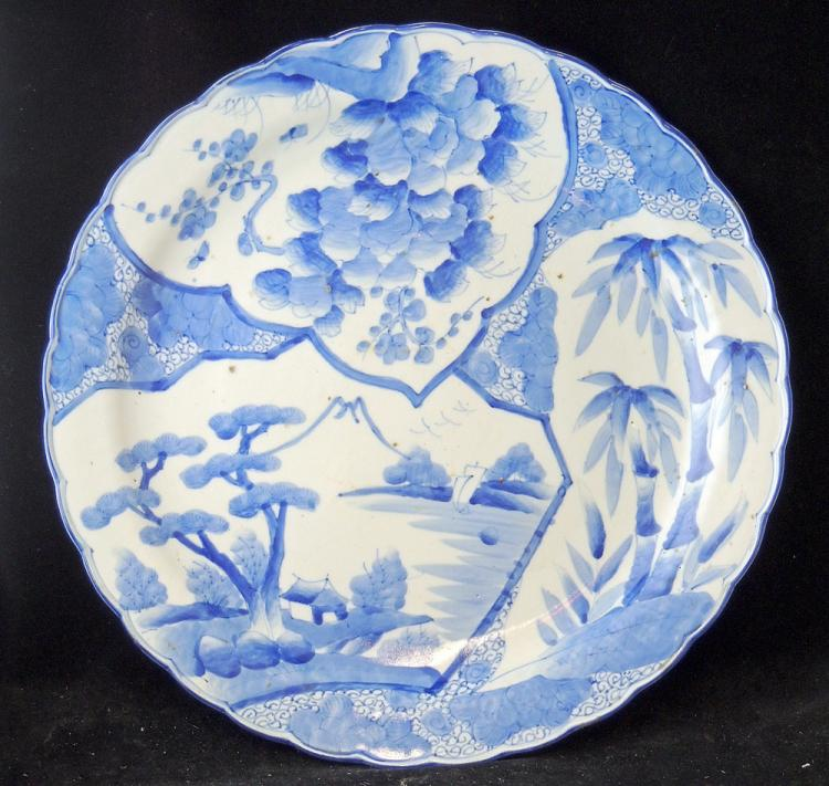 Japanese Blue & White Porcelain Charger: Mountain