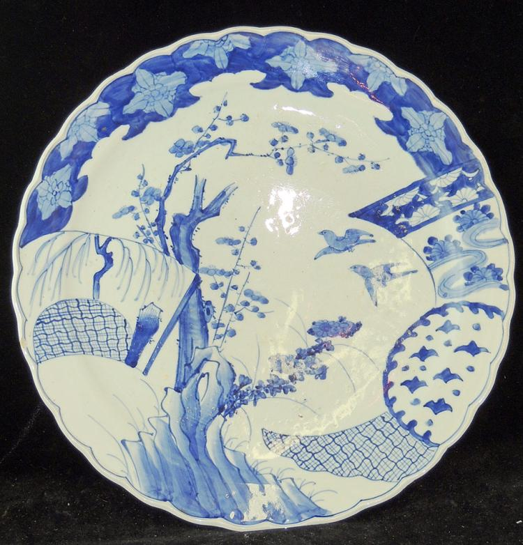 Japanese Blue & White Porcelain Charger: Bird