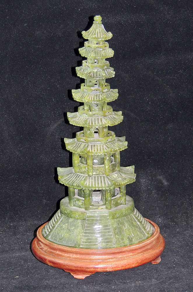 Chinese Spinach Jade Pagoda Incense Burner