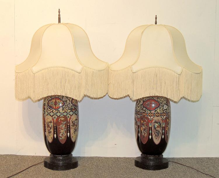 Pair of Cloisonné Table Lamps