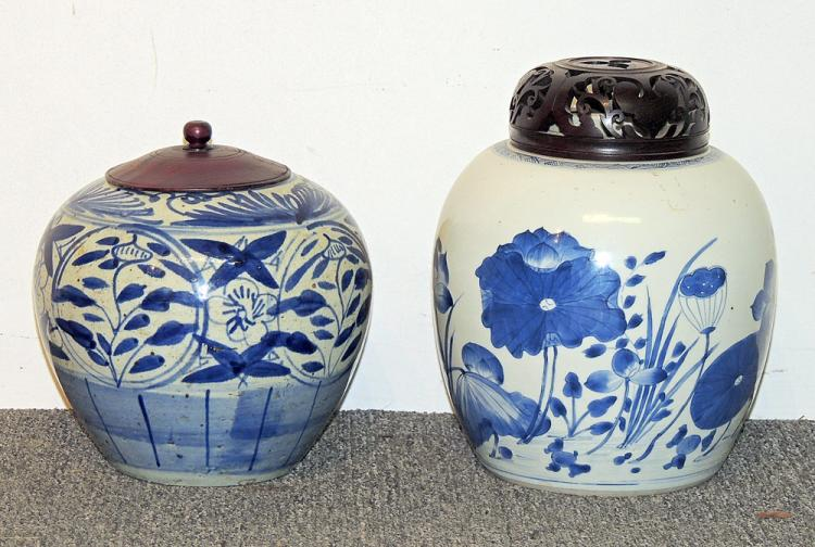 Two Chinese Blue & White Porcelain Ginger Jars