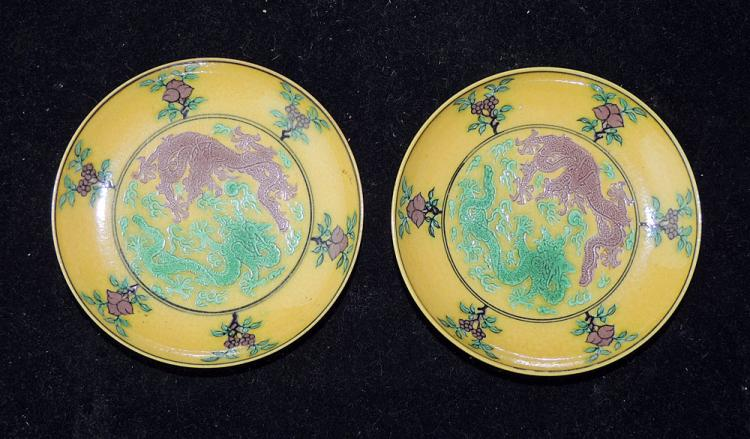 Two Chinese Yellow-glazed Dragon Saucers