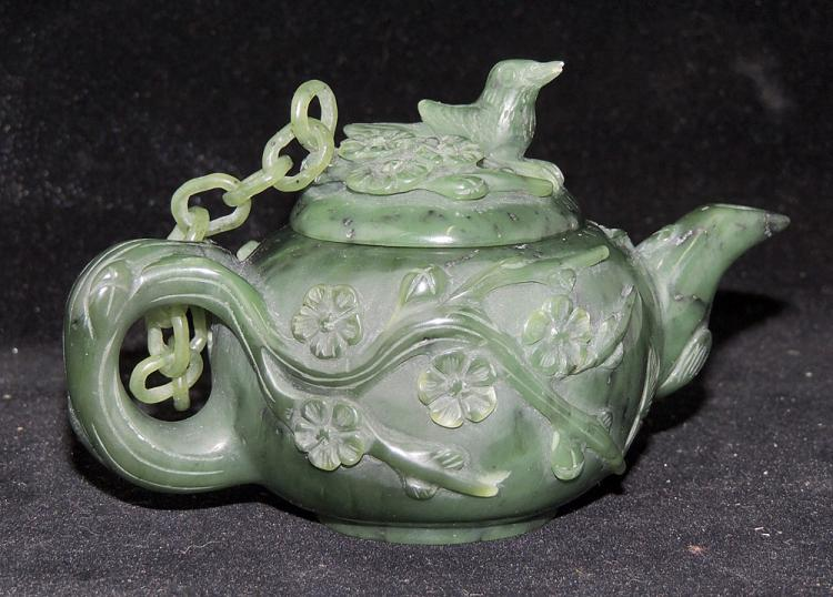 Chinese Carved Spinach Jade Teapot